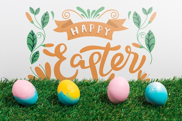 Easter mockup with copyspace for text or logo Free Psd