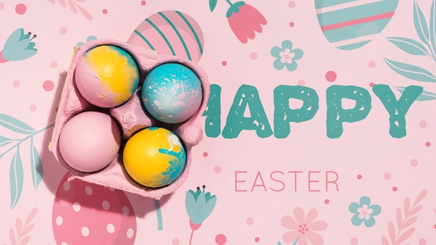 Easter mockup with copyspace Free Psd