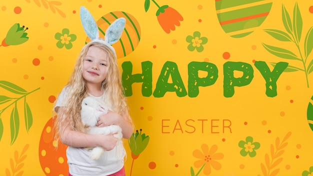 Easter mockup with girl and rabbit Free Psd