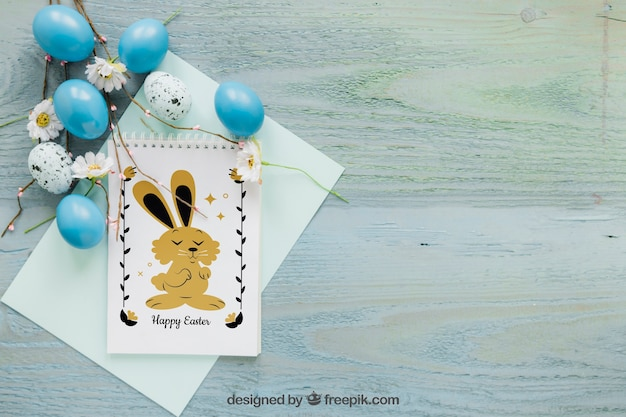 Easter mockup with space on right Free Psd