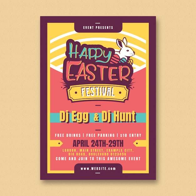 Easter party flyer template Free Psd