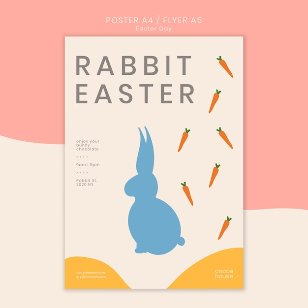 Easter poster template with bunny Free Psd