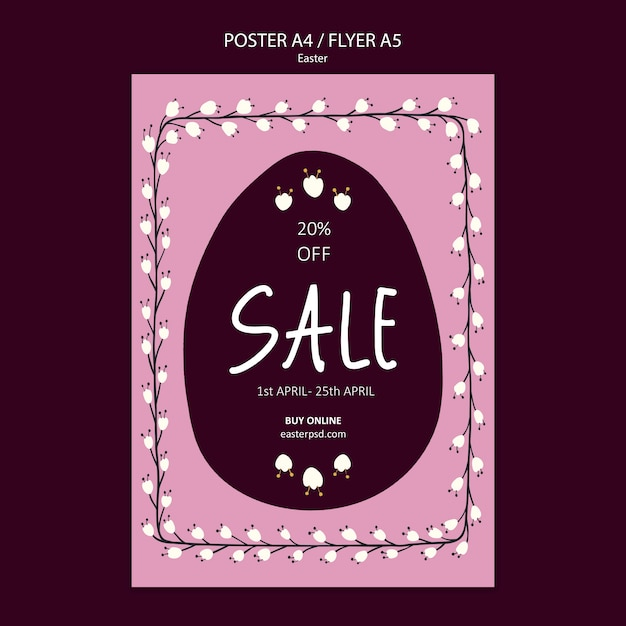 Easter sales flyer or poster template Free Psd