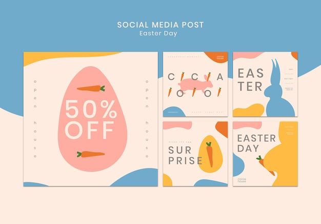 Easter social media posts template Free Psd