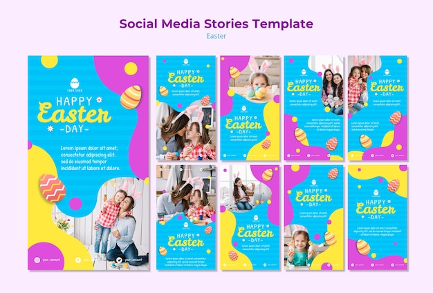 Easter social media stories template Free Psd
