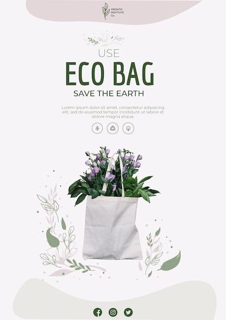 Eco bag for flowers and shopping flyer Free Psd
