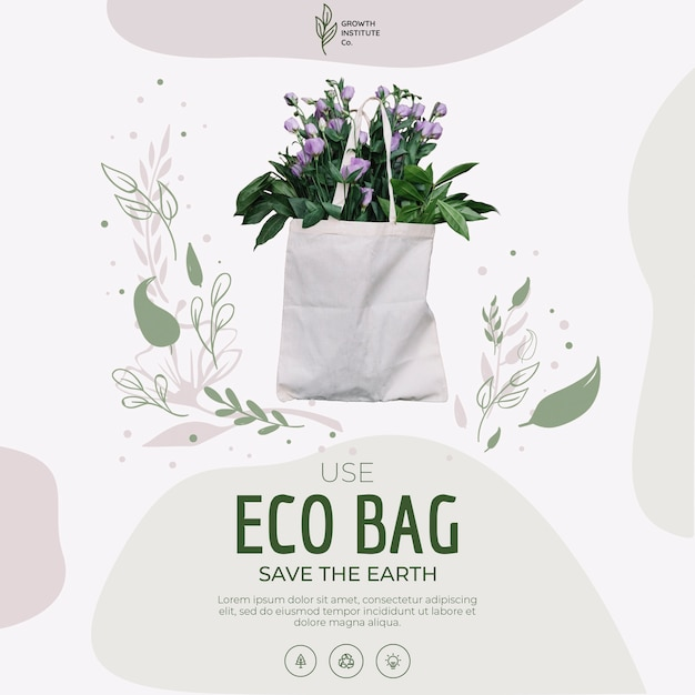 Eco bag for flowers and shopping Free Psd