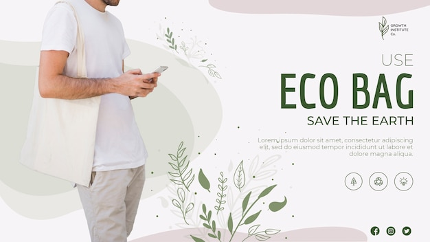 Eco bag recycle for environment banner template Free Psd