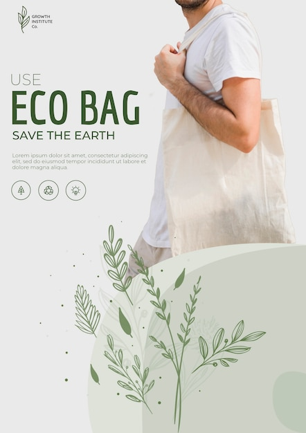 Eco bag recycle for environment flyer template Free Psd