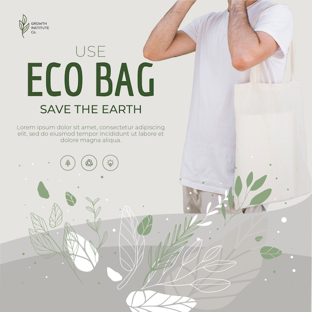 Eco bag recycle for environment and humans Free Psd