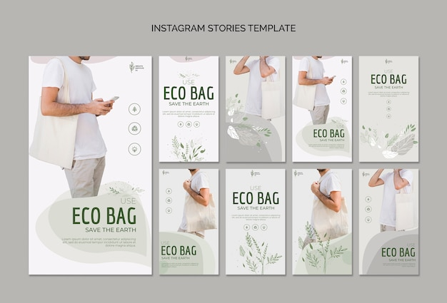 Eco bag recycle for environment instagram stories Free Psd
