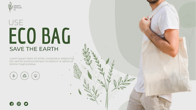 Eco bag recycle for environment and leaves banner Free Psd