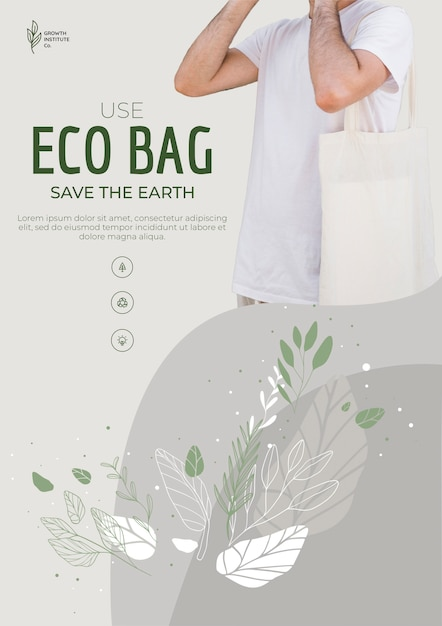 Eco bag recycle for environment poster template Free Psd