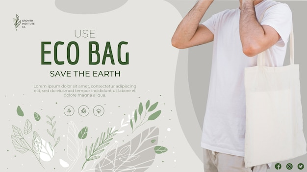 Eco bag recycle for environment save the planet banner Free Psd