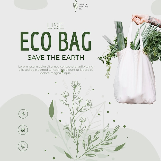 Eco bag recycle for environment and shopping Free Psd