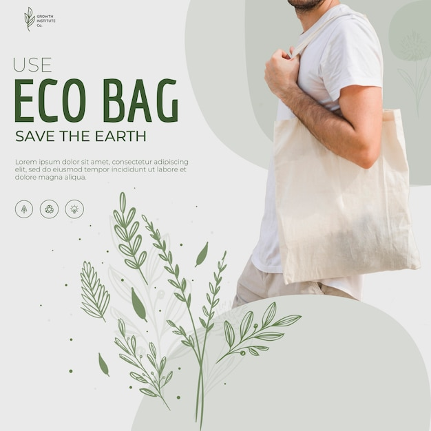 Eco bag recycle for environment square flyer Free Psd
