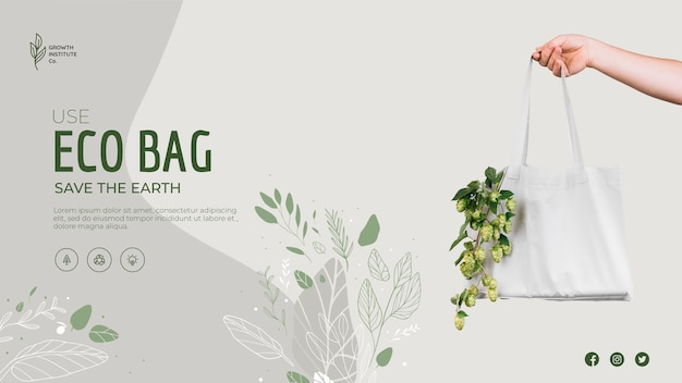 Eco bag for veggies and shopping banner template Free Psd