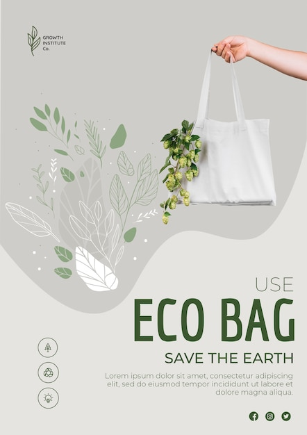 Eco bag for veggies and shopping poster Free Psd