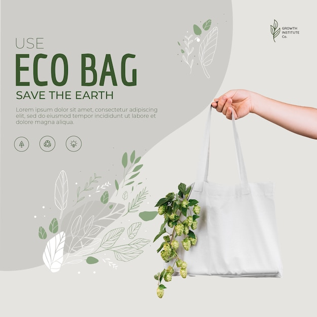 Eco bag for veggies and shopping save the earth Free Psd