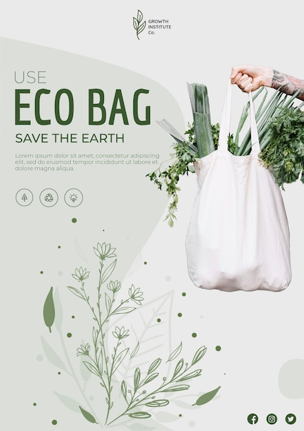 Eco bag for veggies and shopping square flyer Free Psd