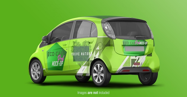 Eco car mockup back perspective view Premium Psd