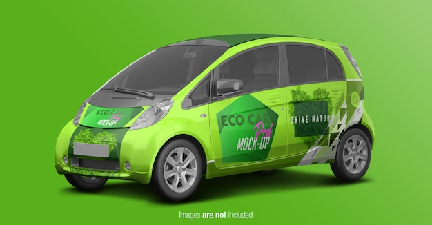 Eco car psd mockup perspective view Premium Psd