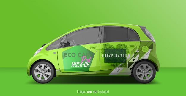 Eco car psd mockup side view Premium Psd
