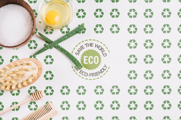 Eco friendly arrangement with mock-up Free Psd