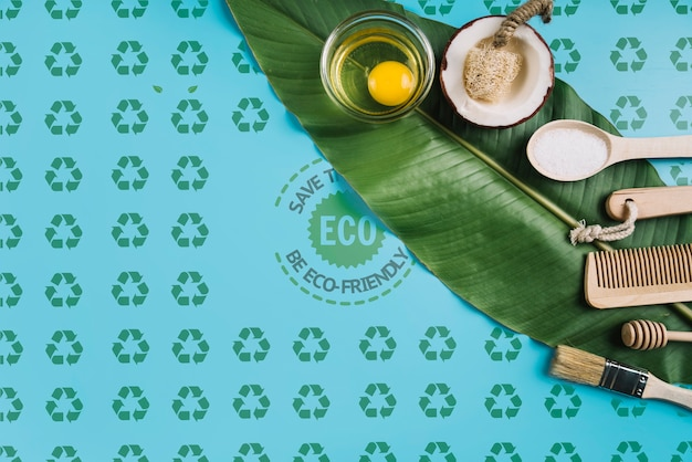 Eco friendly concept on leaf Free Psd
