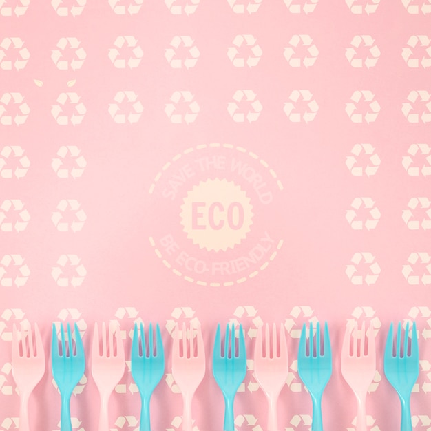 Eco-friendly forks with background mock-up Free Psd