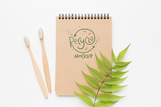 Notebook ecologico e spazzolini da denti Psd Gratuite