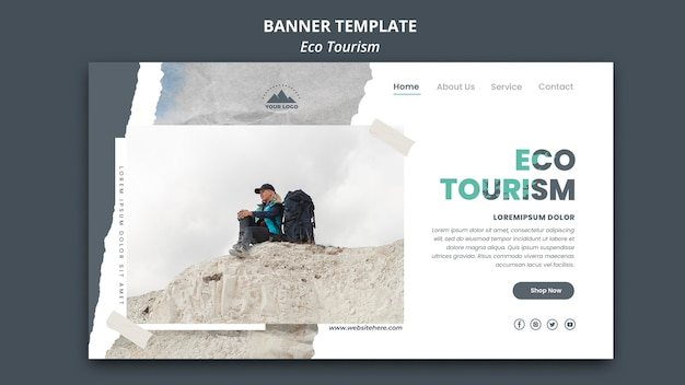 Eco tourism ad banner template Free Psd