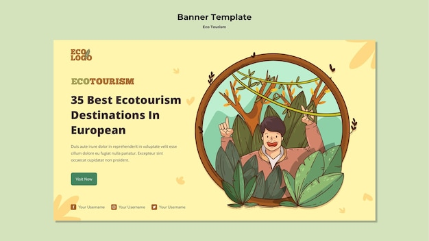 Eco tourism concept banner template Free Psd