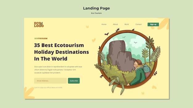 Eco tourism concept landing page template Free Psd