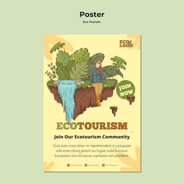 Eco tourism concept poster template Free Psd