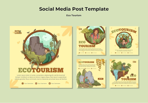 Eco tourism concept social media post  template Free Psd