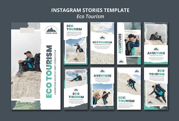 Modello di storie di instagram di turismo ecologico Psd Gratuite