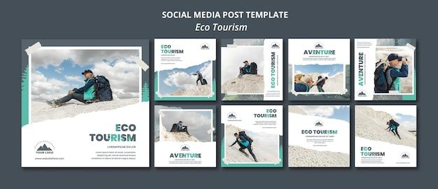 Шаблон сообщения в социальных сетях экологического туризма Premium Psd