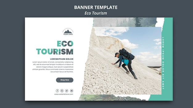 Eco tourism template banner Free Psd