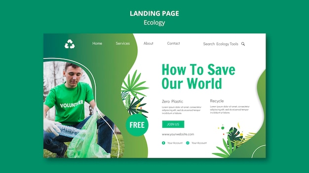 Ecology concept landing page template Free Psd