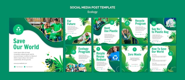 Ecology concept social media post template Premium Psd