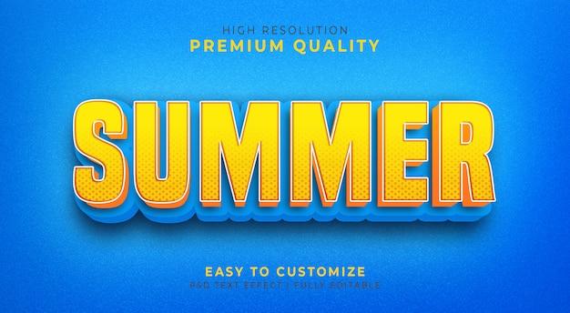 여름 색으로 편집 가능한 3d 텍스트 스타일 효과 Psd 프리미엄 PSD 파일