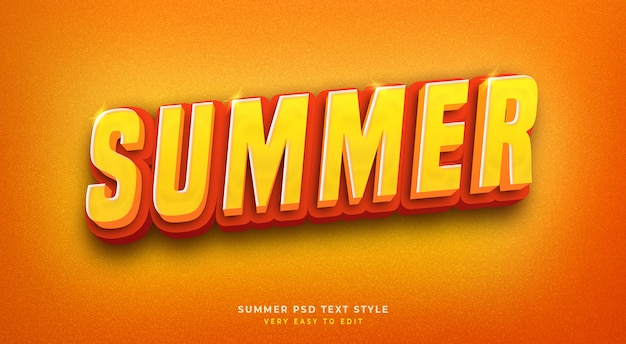 Editable 3d text style effect psd  with  summer shiny Premium Psd