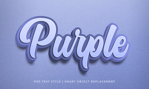 Editable 3d text style psd effect with purple color Premium Psd