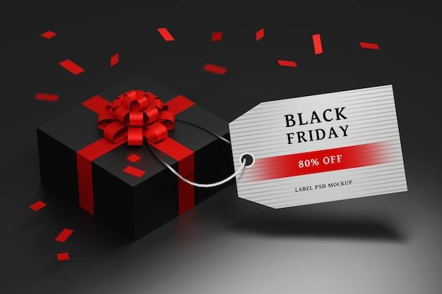 Редактируемая композиция black friday sale с подарочной коробкой и пустой этикеткой Premium Psd