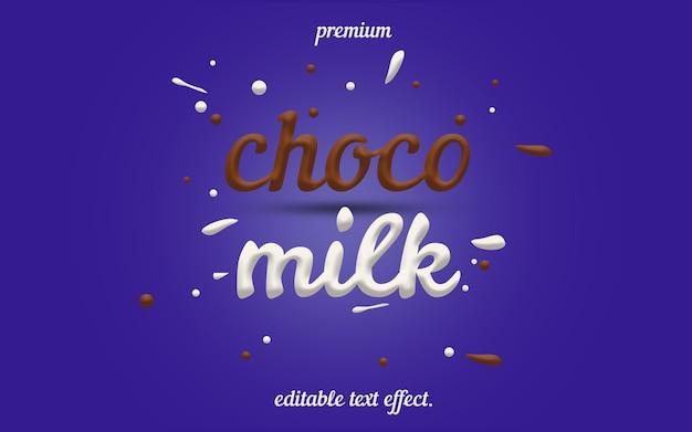 Editable choco milk text effect Premium Psd