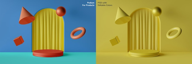 Editable color of circular podium  with floating geometric elements 3d illustration Premium Psd