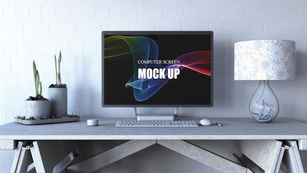 Editable computer screen mock up Free Psd
