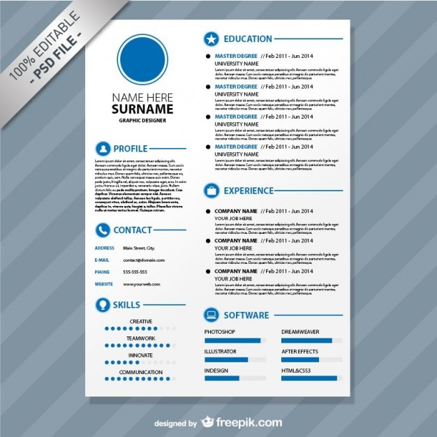 Editable Cv Format Download Free Psd  Download Format Resume