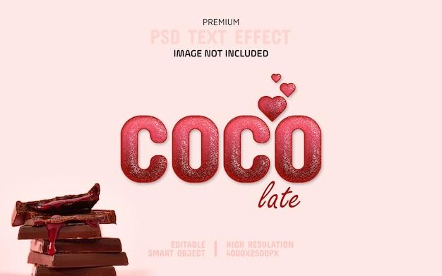 Editable dark pink chocolate text effect template Premium Psd